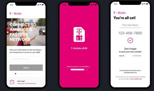 Images show T-Mobile's new eSIM app for iPhone XS and XR