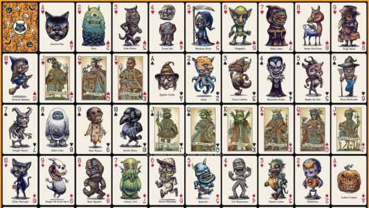 Spooky Cool Deck of Halloween-Themed Monster Playing Cards
