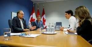 Prime Minister Trudeau meets with Bell's outgoing CEO Cope and current COO Bibic