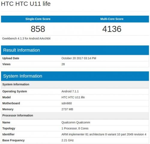 HTC U11 Life Appears On Geekbench With SD660 SoC, 3GB Of RAM