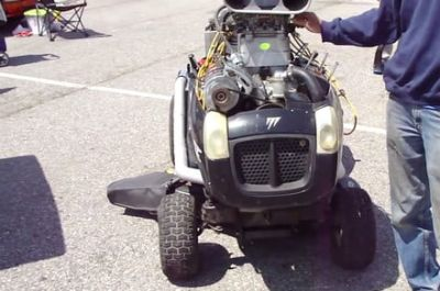 A man stuffed a Chevy V8 in a riding lawn mower. Because, why not?