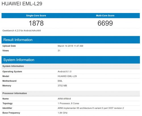 Alleged Huawei P20 Benchmarked With Flagship Specs