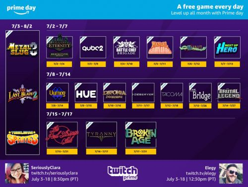 Get Free PC Games If You're An Amazon / Twitch Prime Member In July