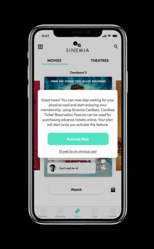 Sinemia, a MoviePass competitor, launches cardless ticketing