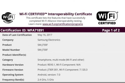 Six Galaxy J7 (2017) Variants Get Wi-Fi Certification