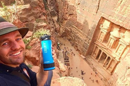 The LifeSaver Liberty is the first portable water bottle with an inline pump