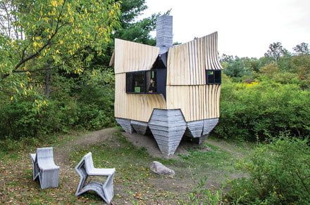 This robotically-built cabin offers a peek into the high-tech future of housing