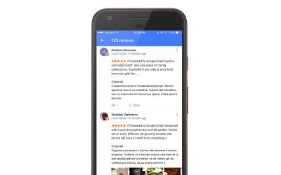 Google automatically translates local reviews when you travel