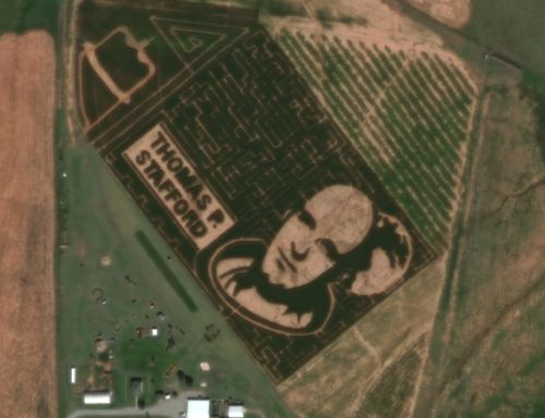 Former NASA astronaut honored with corn field tribute so big it can be seen from space
