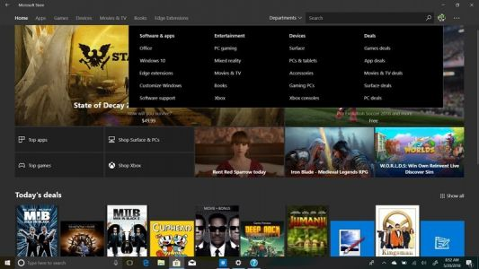 Microsoft testing new 'Departments' menu in the Microsoft Store on Windows 10