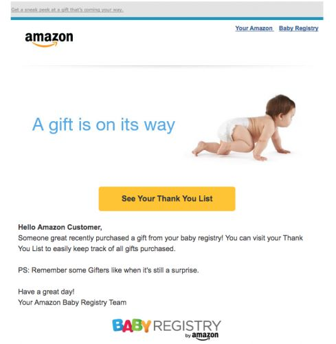 Amazon told lots of customers they'd be getting a baby gift - even if they aren't pregnant and don't have a registry