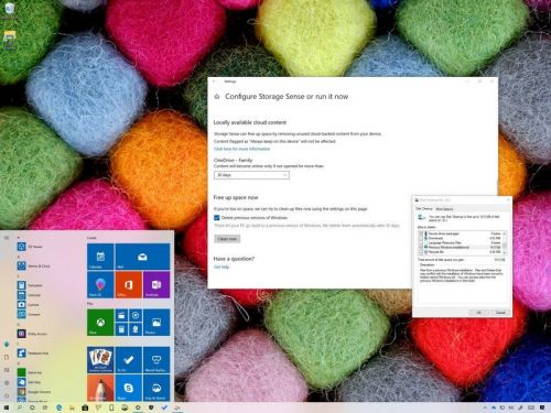 Freeing up space after installing the Windows 10 May 2019 Update