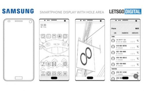 Samsung patents phone with in-display camera