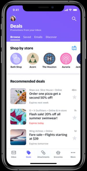 The latest version of Yahoo Mail helps users find attachments and deals