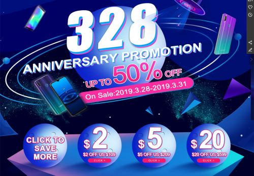 Super promotion on CUBOT Aliexpress store for 3.28 event
