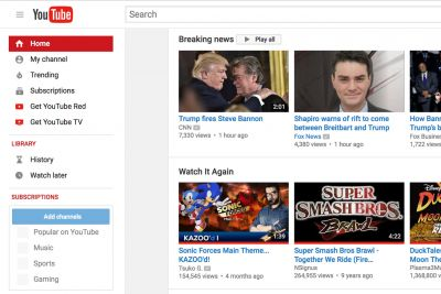 YouTube adds 'breaking news' section to homepage and mobile apps