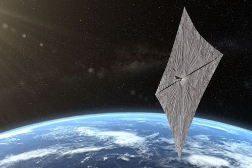 Spacecraft designed to ride on sunlight deploys its reflective solar sail
