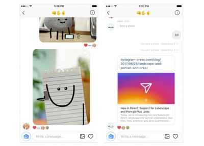 Instagram direct messages now support web links and different photo orientations