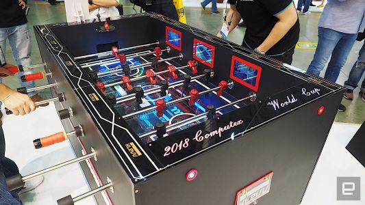 This PC case doubles as a foosball table