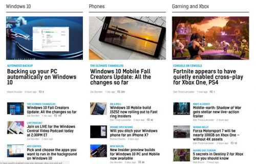 Windows Central's new homepage and you