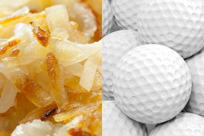 If your hash browns taste like golf balls, it's because they have golf balls in them