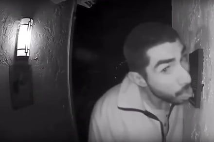 Ring security camera catches man licking the doorbell for hours