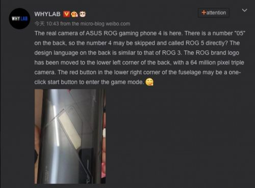 Upcoming ASUS ROG Phone appears online in a live image
