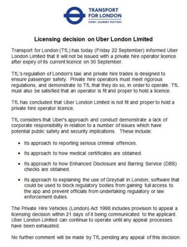 Shock TfL ruling BANS Uber from London - 40,000 to lose jobs