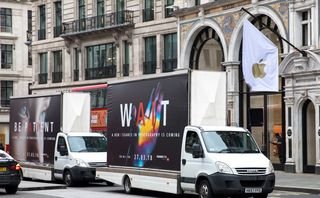 Huawei is trolling Apple and Samsung stores with flatbed trucks and graffiti