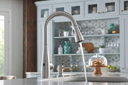 The Moen Essie Pull-Down Touchless Faucet brings sense and style to your kitchen