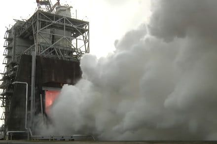Watch NASA test fire a giant rocket engine for its Space Launch System