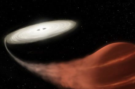 This vampire star is feeding on its companion to create a 'super-outburst'