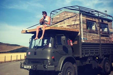 This freewheeling Army truck-turned-tiny home is a labor of love