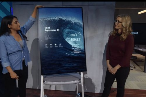 Microsoft demonstrates Surface Hub 2 and its rotating display