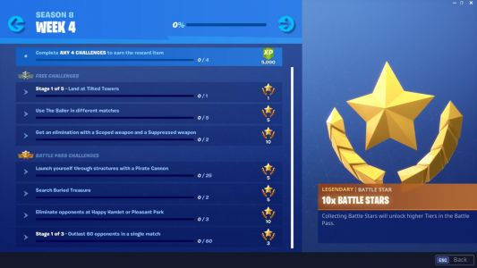 Fortnite Week 4 Challenges List: Baller, Search Buried Treasure, And More