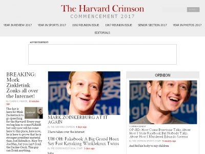 Harvard's student newspaper was hacked to make fun of commencement speaker Mark Zuckerberg