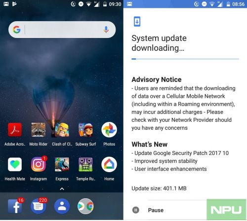 October Security update for Nokia 3 brings round Google search box too