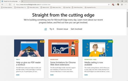 Microsoft Edge Dev channel gets first weekly update