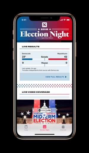 Apple News will launch a real-time election results hub on November 6
