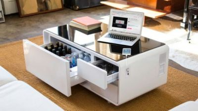 High-tech Coffee Table Hides A Beer Fridge And A Huge Bluetooth Speaker
