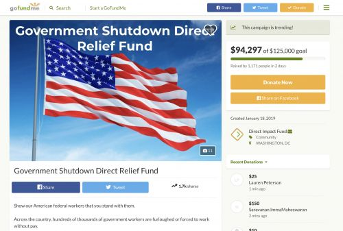 GoFundMe launches official campaign for workers impacted by government shutdown