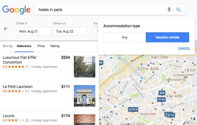 Google tests vacation rental filter alongside hotel search results