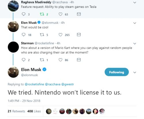 Tesla Tried to License Mario Kart for an in-Car Version