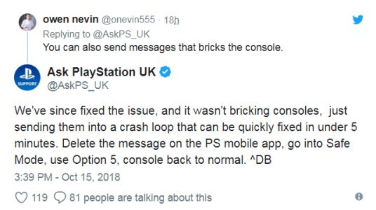 Update: Sony Says It's Fixed Malicious PS4 Message Exploit