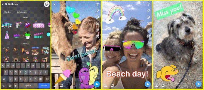 Snapchat adds GIF stickers via Giphy, plus new Friends and Discover screen tabs