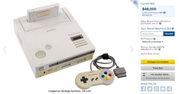The legendary Nintendo PlayStation is on auction, and it's already at $48K