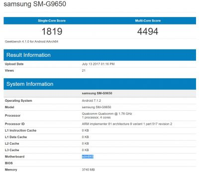 Samsung SM-G9650 Hits Geekbench With Possible Snapdragon 845