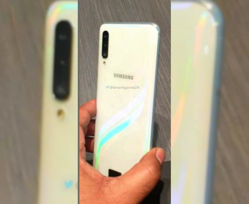 Samsung Galaxy A50 pops-out in Prism white color