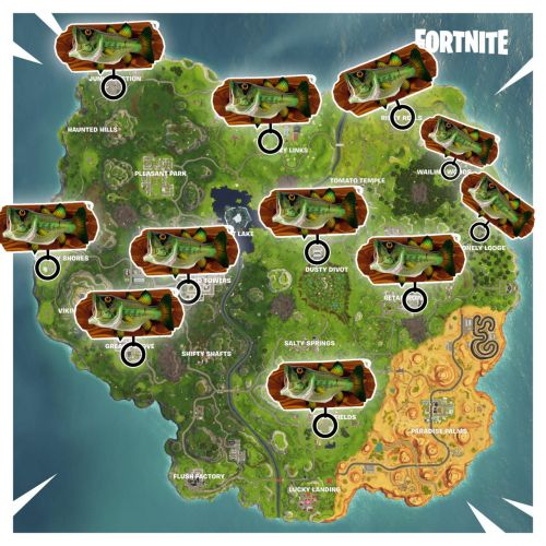 Fish Trophy Locations - Fortnite Week 8 Challenge Guide