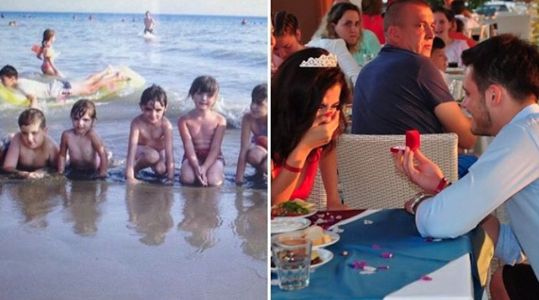 This Instagram makeup artist just realised that her fiancé photobombed her in a childhood picture before they ever met